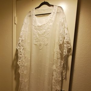 White lace summer dress with white underdress